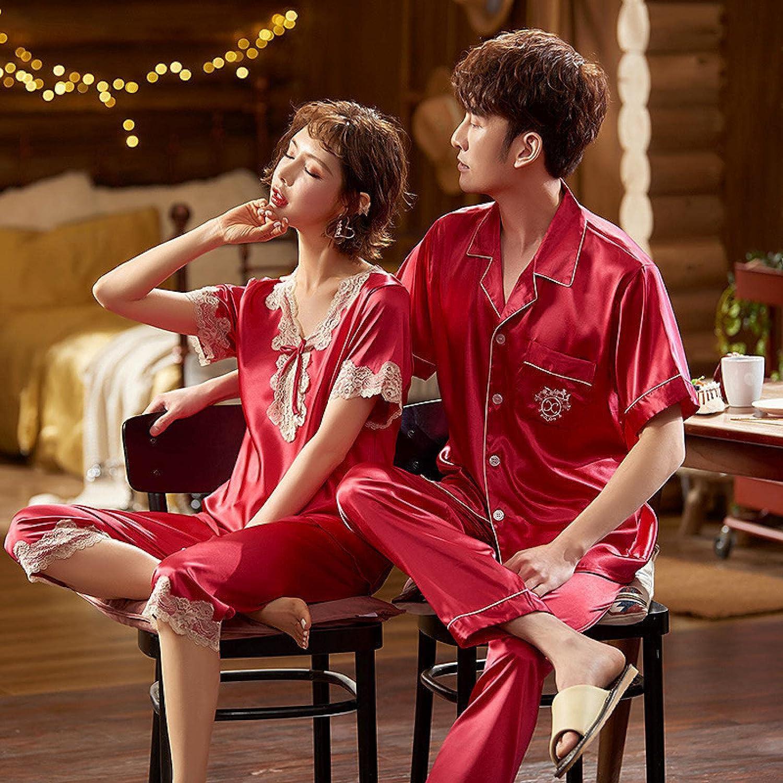 STJDM Nightgown,Silk Satin Pajamas Couple Set Summer Short Sleeve Button-Down Sleepwear Loungewear Plus Size Men-L wineredset