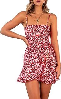 Relipop Women`s Dresses Floal Print Spaghetti Strap Ruffle Wrap Front Tie Knot Fishtail Short Dress