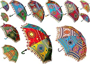 The Art Box Wholesale Mix Lot Handmade Designer Cotton Fashion Multi Colored Umbrella Embroidery Boho Umbrellas Parasol (16 Inch Approx.)