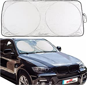 Sumex SilverSun Car Front Windscreen Folding Sun Block Shade with Bag  Extra Large  80 150cm