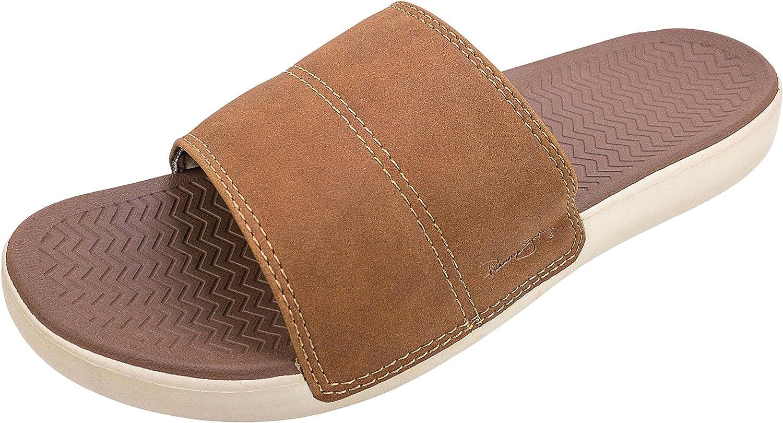 Panama Jack Men's Slide Sandals, Adjustable, Mens Size MD-XL (8-13), Tan/Camouflage Print