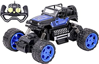 Zest 4 Toyz Remote Control Car Rock Crawler RC Rechargeable Rock Climbing Off Road Monster Truck Toys for Kids (Blue)
