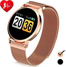 Metal Band Smart Watch - NEW Version Women's Tracker Watch HD Touch with All-Day Heart Rate/Blood Pressure/Sleep Monitor & Message Call Notification & Calories & Compatible with Phone Android