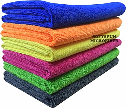 SOFTSPUN Microfiber Car Cleaning, Polishing & Detailing Towel Cloth - Green/Pink/Yellow - Pack of 3 (40X60Cms)