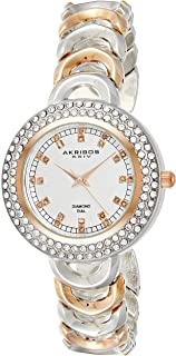 Akribos Xxiv Dress Watch Analog Display Quartz For Women Ak804Ttr, Stainless Steel Strap