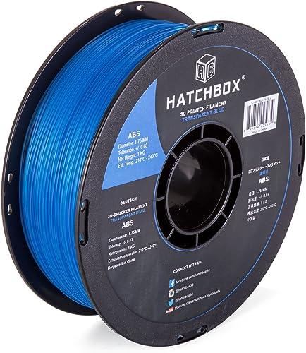 HATCHBOX ABS 3D Printer Filament, Dimensional Accuracy +/- 0.03 mm, 1 kg Spool, 1.75 mm, Transparent Blue