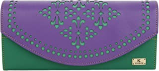 K London Hazelwood Print Handmade Women's Clutch/Wallet (Green,Purple) (1602_Green)