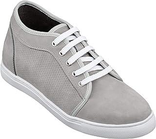 Calto T5310 - Zapatos Invisibles para Hombre con Aumento de Altura, con Cordones de Nobuk de Cemento, Ligeros, clásicos, ...