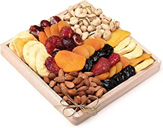 Milliard Dried Fruit & Nut Deluxe Gift Platter Arrangement on Wood Tray for Occasions including New Years, Valentines Day,...