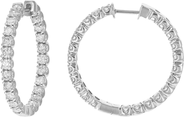 Vir Jewels 5 cttw Las Vegas Mall Classic Diamond 14K I Earrings Gold Hoop Columbus Mall White