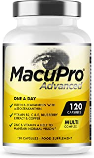 Advanced MacuPro Eye Supplement - 120 Capsules - Zeaxanthin, Meso Zeaxanthin, Lutein, Blueberry Extract Plus Vitamins and ...