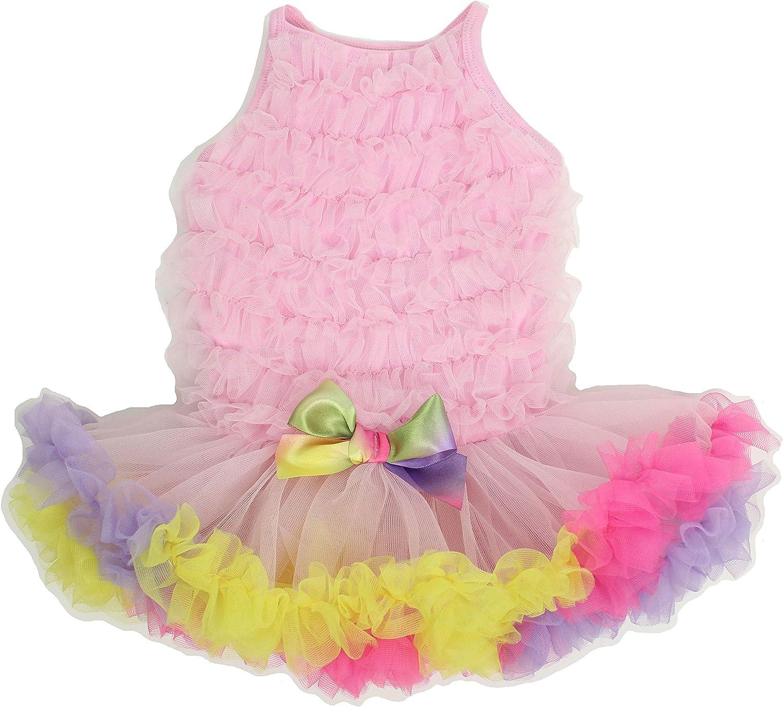 Pink Small PAWPATU Rainbow Ruffle Petti Dress for Dogs Apparel ...