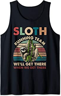 Vintage Sloth Running Team We'll Get There Funny Sloth Tank Top