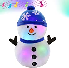 Bstaofy LED Musical Snowman Stuffed Animal Light up Plush Toy Soft Adorable Singing Animate Pals for Kids, 11'' (Snowman)