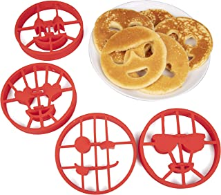 Emoji Pancake Molds and Egg Rings (4 Pack) for Kids AND Adults - Reusable Silicone Smiley Face Maker Doubles as Cookie Maker Set- FDA Approved, BPA Free, Food Safe, Heat Resistant Silicone