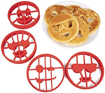 Emoji Pancake Molds and Egg Rings (4 Pack) for Kids AND Adults - Reusable Silicone Smiley Face Maker Doubles as Cooki...