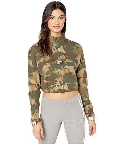 adidas Originals All Over Print 1/2 Pullover (Hemp/Earth Green) Women