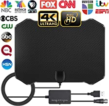 Amplified TV Antenna for Digital TV Hd Indoor, 60-130 Miles Long Range with 2019 Newest Powerful Amplifier Signal Booster Support 4K 1080P Freeview for Life Local Channels