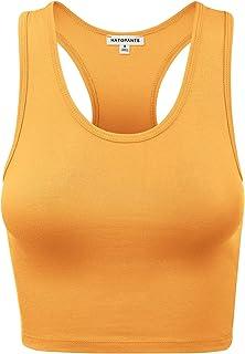 c272dc5539cdd HATOPANTS Women s Cotton Racerback Basic Crop Tank Tops