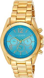 Akribos XXIV Women's Gold Swiss Quartz Multifunction Dual Time Zone Watch - Turquoise Sunburst Dial with Date/Day Subdials - Polished Bracelet - AK760
