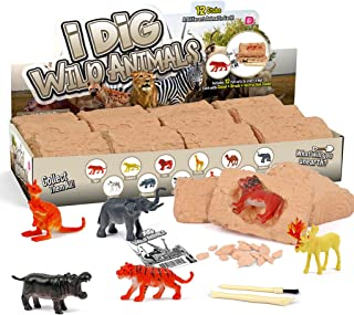Animals Egg Dig Kit Animal Brick 12 Dinosaur Excavation Kits with 12 Unique Animal Toys Dinosaur Dig for Kids Easter Party...