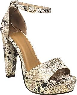 MVE Shoes Women's Soda Open Toe High Heel Ankle Strap Laser Pumps