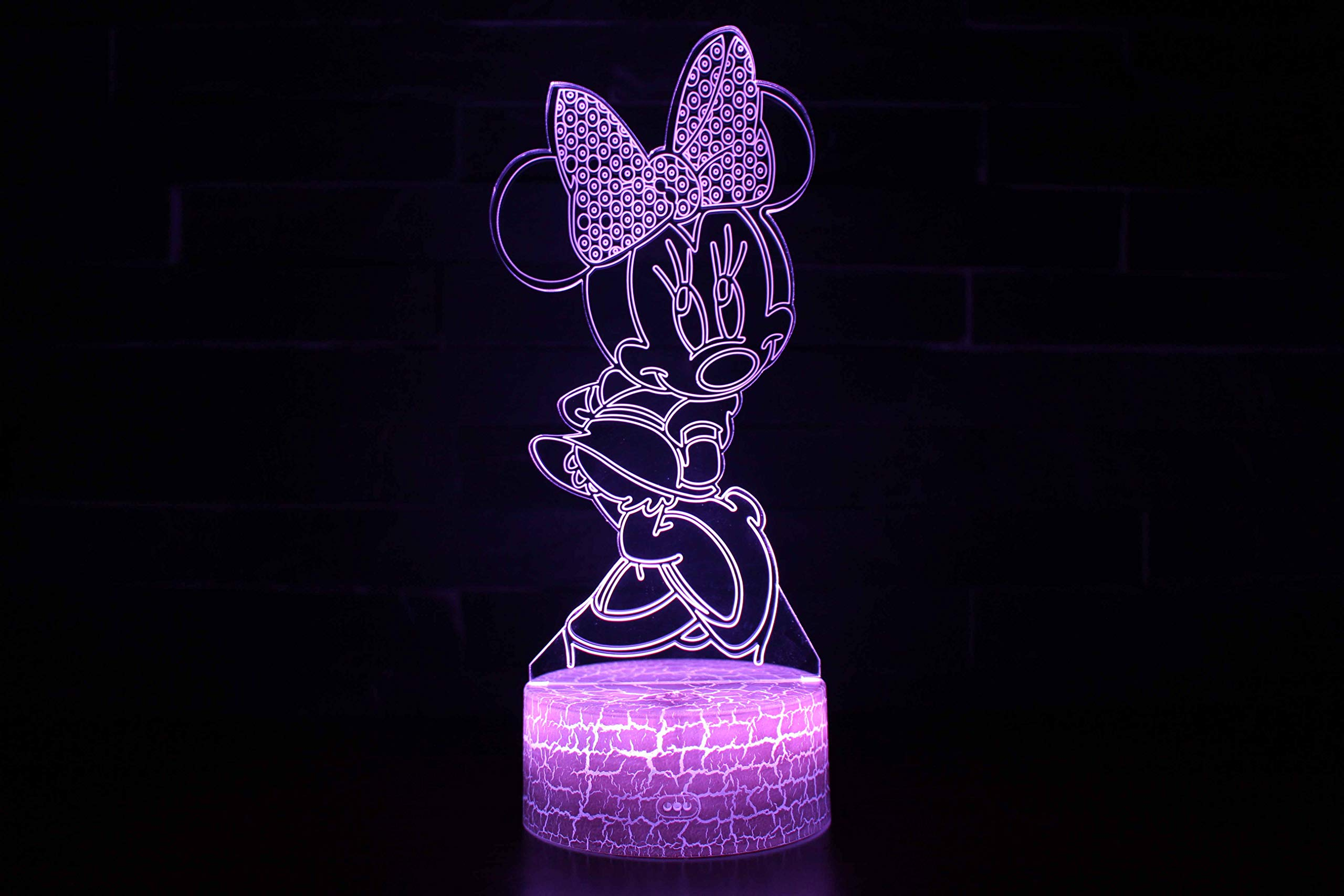 Mickey Mouse Minnie tema lámpara 3D luz LED noche 7 cambio de ...