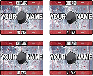 BRGiftShop Personalize Your Own Hockey Team Chicago Set of 4 Square Beverage Coasters
