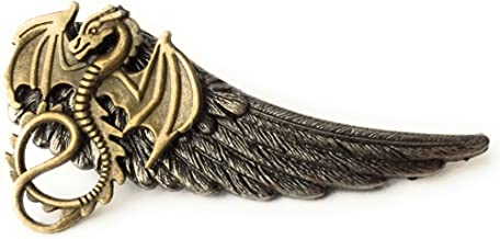 Dragon Winged Tie Clip By Arcanum By Aerrowae - Mens Gift Silver Tie Bars for Groomsmen