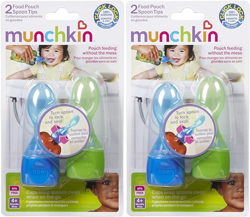 Munchkin Click Lock Food Pouch Spoon Tips 2 Ea Colors May Vary