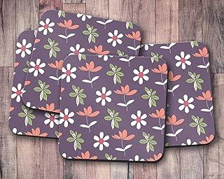 Posavasos morado con diseño floral, posavasos individuales o juego de 4