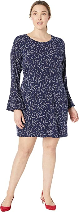 Plus Size Flowing Branches Flounce Dress