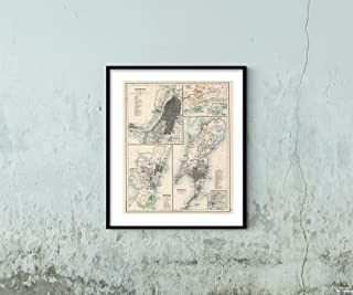 Map|15: Calcutta, Madras, Bombay 1894|Historic Antique Vintage Reprint|Size: 20x24|Ready to Frame