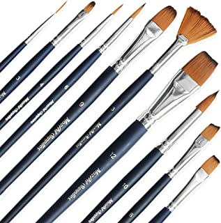 Essential Watercolor Paint Brush Set - 10 Assorted, Synthetic Bristles, Artist Grade Brushes - for Watercolor, Acrylic, Gouache Painting - MozArt Supplies