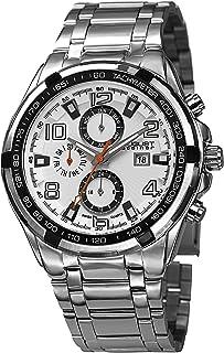 ساعة يد تاشيمتر بمينا باللون الابيض وسوار ستانلس ستيل للرجال من اوغست شتاينر - AS8127SSW