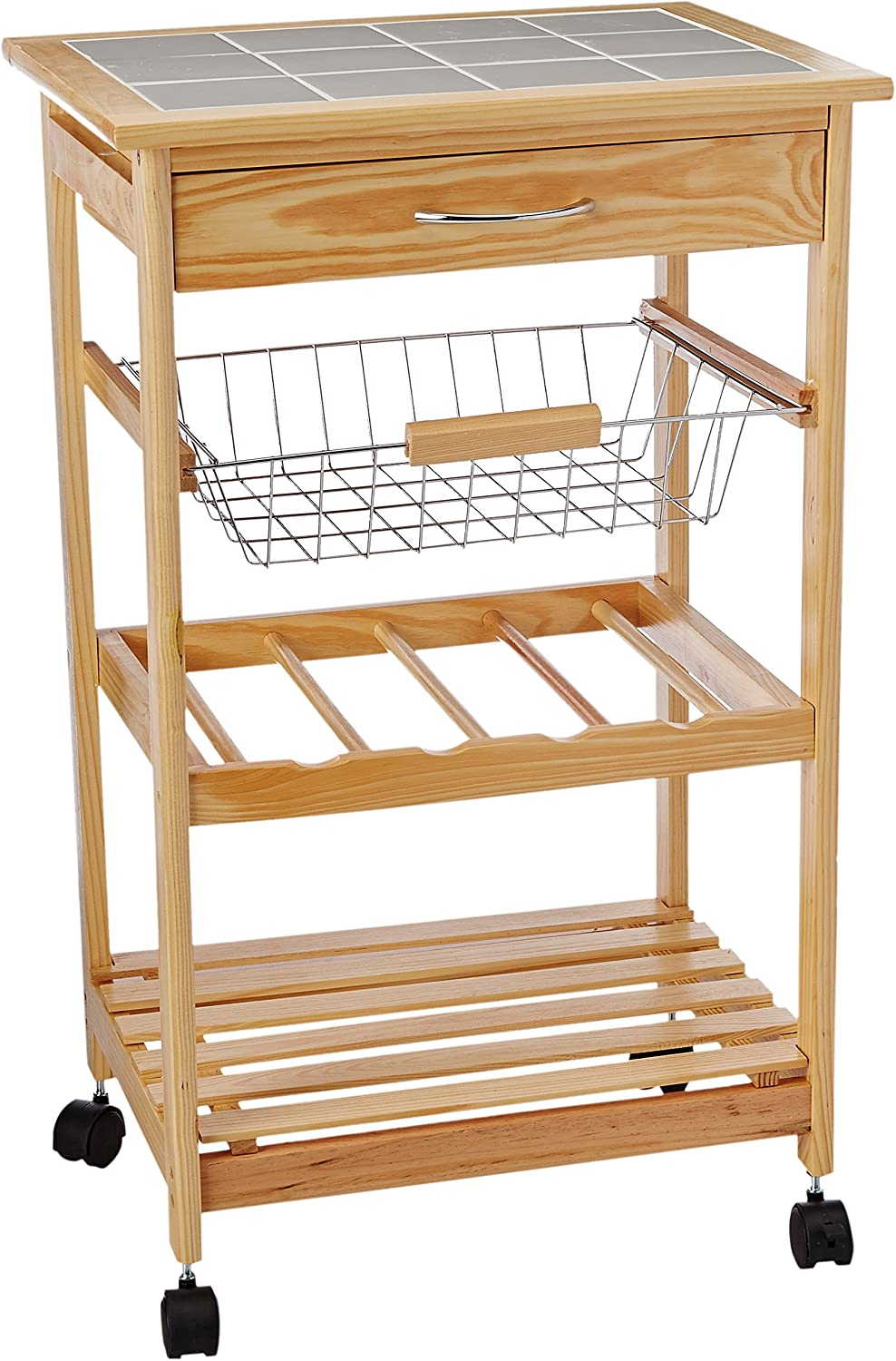 Organize It All Providence Kitchen Cart with Basket