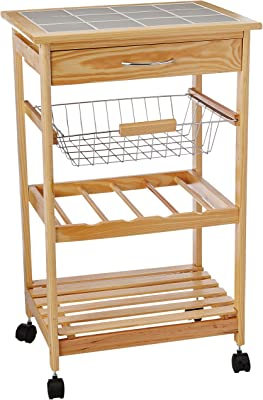 Organize It All Natural Pinewood Multi-Purpose Mobile Kitchen Cart, Light Tan