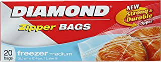 Diamond Freezer Zipper Bags, Medium, 20ct, 20.3cm x 17.7cm