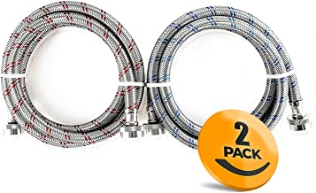 2-Pack Stainless Steel Washing Machine Hoses Burst Proof, 6ft Long – Hot and Cold..
