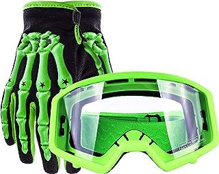 Typhoon Youth Glove & Goggle Combo Motocross Offroad ATV MX Dirt Bike - Green - Medium