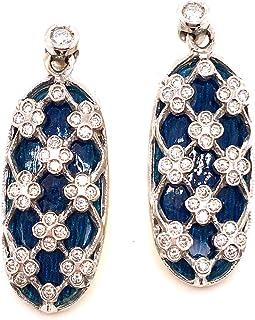 TINELLI Paio Orecchini in Oro 18K Diamanti Naturali E SMALTI
