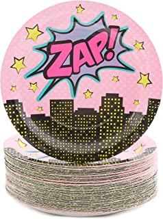 Girl Superhero Party Paper Plates 9 inches for Lunch Dinner (80 Pack)
