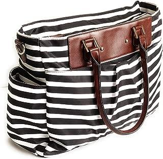 PROCHEL Diaper Bag Tote Purse Crossbody Baby Bag for mom girl boy black stripes
