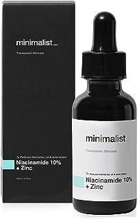 Minimalist 10% Niacinamide Face Serum for Acne Marks, Blemishes & Oil Balancing with Zinc | Skin Clarifying Anti Acne Seru...