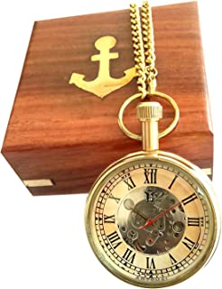 Artshai Designer Mechanical Pocket Watch with Wooden Box