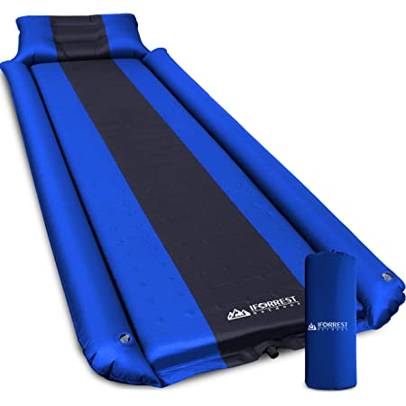IFORREST Sleeping Pad w/Armrest & Pillow - Rollover Protection - Self-Inflating Camping Mattress, Best Cot-Tent Mats - Ultra-Comfortable Hiking Backpacking Air Bed(L/XL) (Blue/ Large)