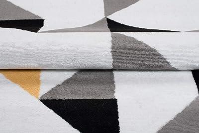TAPISO Maya Tapis de Salon Moderne pour Salon, Blanc, Jaune, Abstrait, géométrique, à Poils Courts, 120 x 170 cm