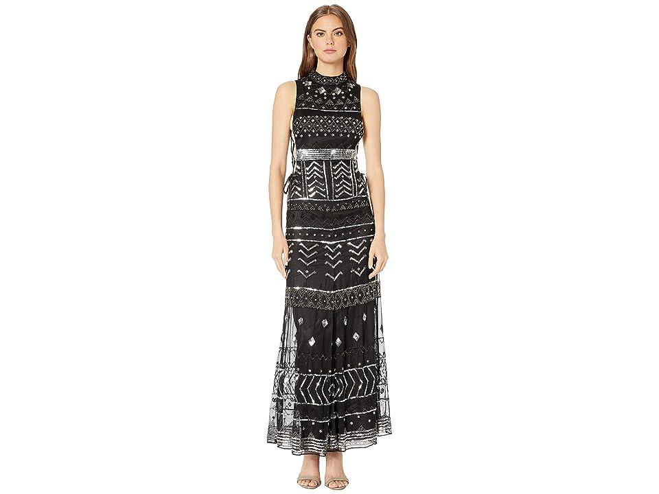 Bebe Lace-Up Side Gown (Black/Silver) Women's Dress