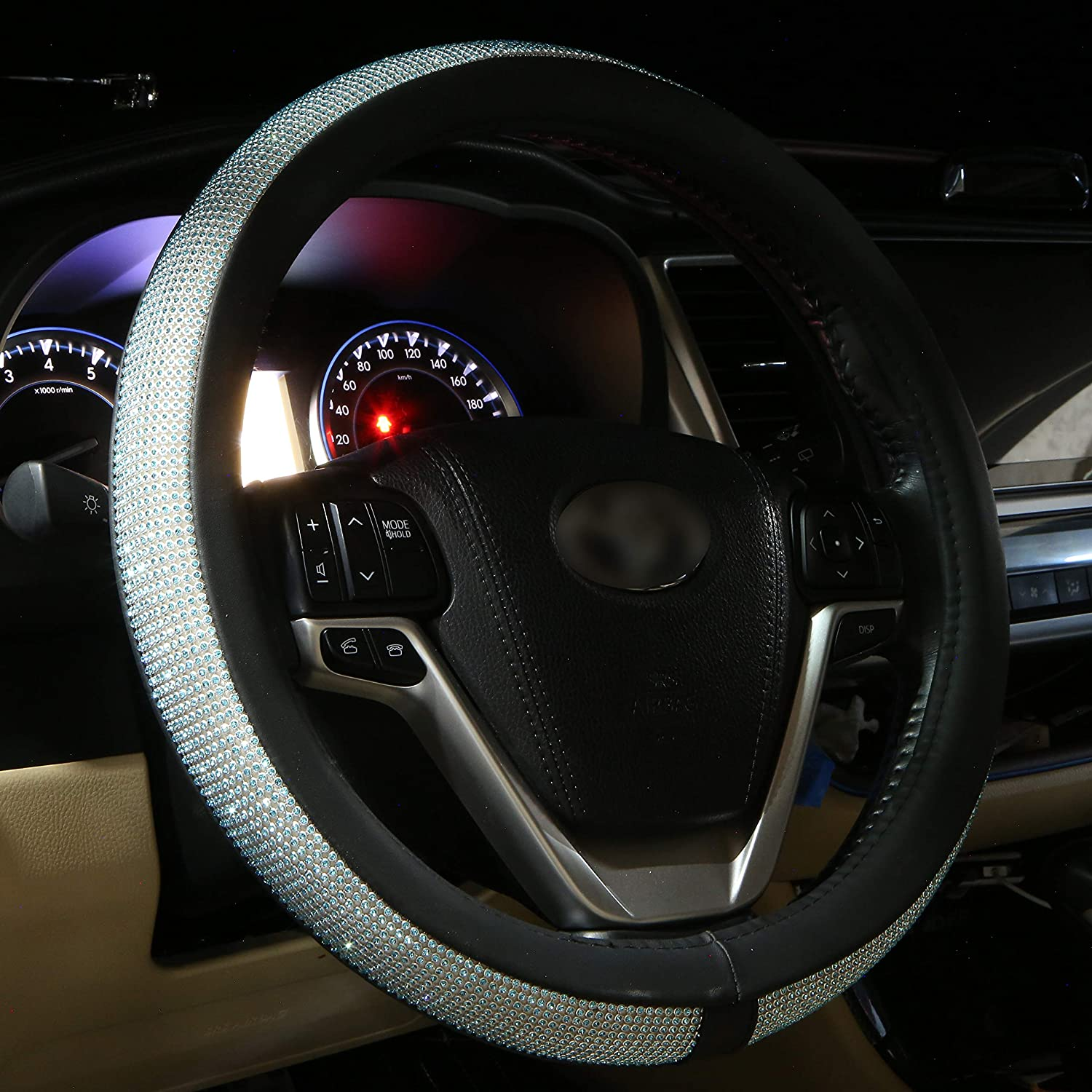 Diamond Leather Steering Wheel Cover for Women Girls with Bling Bling Crystal Rhinestones Silver Universal Fit 15 Inch Anti-Slip Wheel Protector