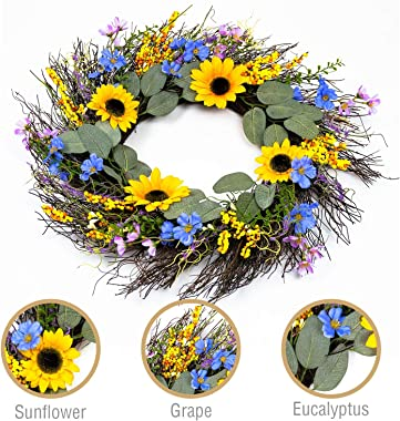 Homekaren Wreaths for Spring and Summer 22 inch, Artificial Sunflower Wreath for Front Door with Green Leaves, Floral Wreath